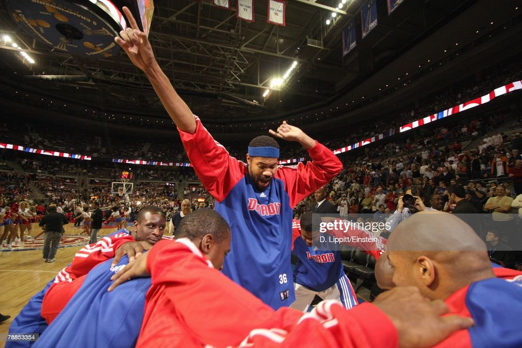 Rasheed Wallace #36 of the Detroit Pistons celebrates during the game against the Atlanta Hawks at the Palace of Auburn Hills on December 14, 2007 in Auburn Hills, Michigan. The Pistons won 91-81.