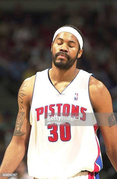Rasheed Wallace of the Detroit Pistons looks dejected after the Pistons lost to the New Jersey Nets 127-120 in triple overtime in Game five of the...