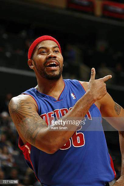 Rasheed Wallace of the Detroit Pistons questions a foul call during the game against the Charlotte Bobcats on December 3 2006 at the Charlotte...