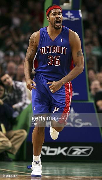 Rasheed Wallace of the Detroit Pistons reacts after he scored in the second half against the Boston Celtics on November 3 2006 at the TD Banknorth...