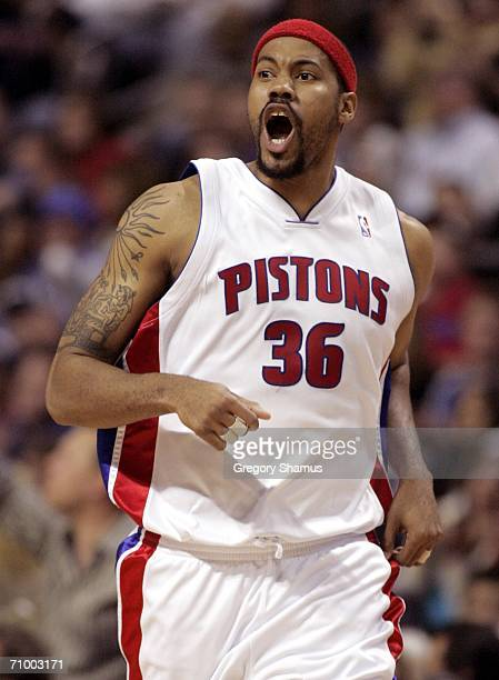Rasheed Wallace of the Detroit Pistons reacts after making a basket against the Cleveland Cavaliers in game seven of the Eastern Conference...