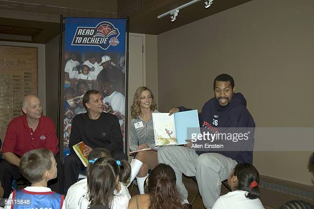 Rasheed Wallace of the Detroit Pistons reads to young patients at the Detroit Pistons Halloween Read to Achieve Kickoff Event held October 31 2005 at...