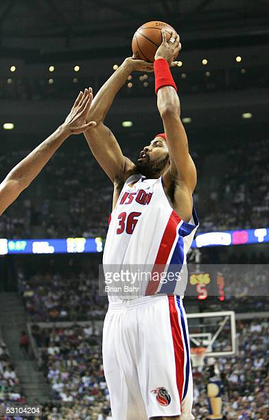 Rasheed Wallace of the Detroit Pistons shoots a jump shot in the second quarter against the San Antonio Spurs in Game five of the 2005 NBA Finals at...
