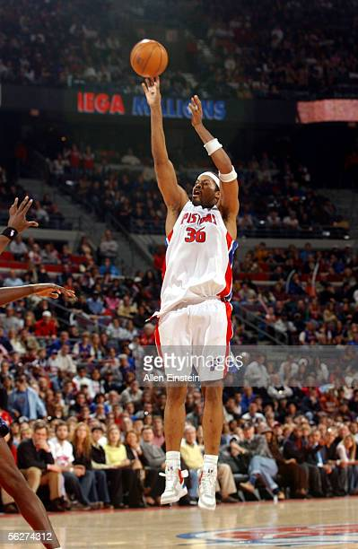 Rasheed Wallace of the Detroit Pistons shoots for three against the Washington Wizards in a game on November 25 2005 at the Palace of Auburn Hills in...