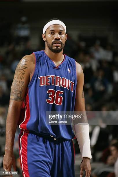 Rasheed Wallace of the Detroit Pistons stands on the court during the game against the Dallas Mavericks on December 6 2004 at the American Airlines...