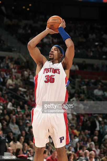 Rasheed Wallace of the Detroit Pistons takes a jump shot during the game with the Los Angeles Clippers on February 8, 2006 at the Palace of Auburn...
