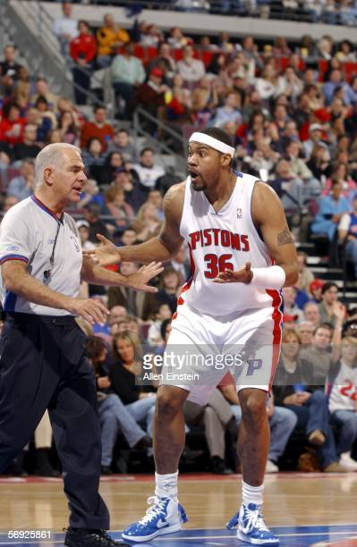 Rasheed Wallace of the Detroit Pistons talks with a referee after getting a technical foul in a game the Indiana Pacers in a game on February 23,...