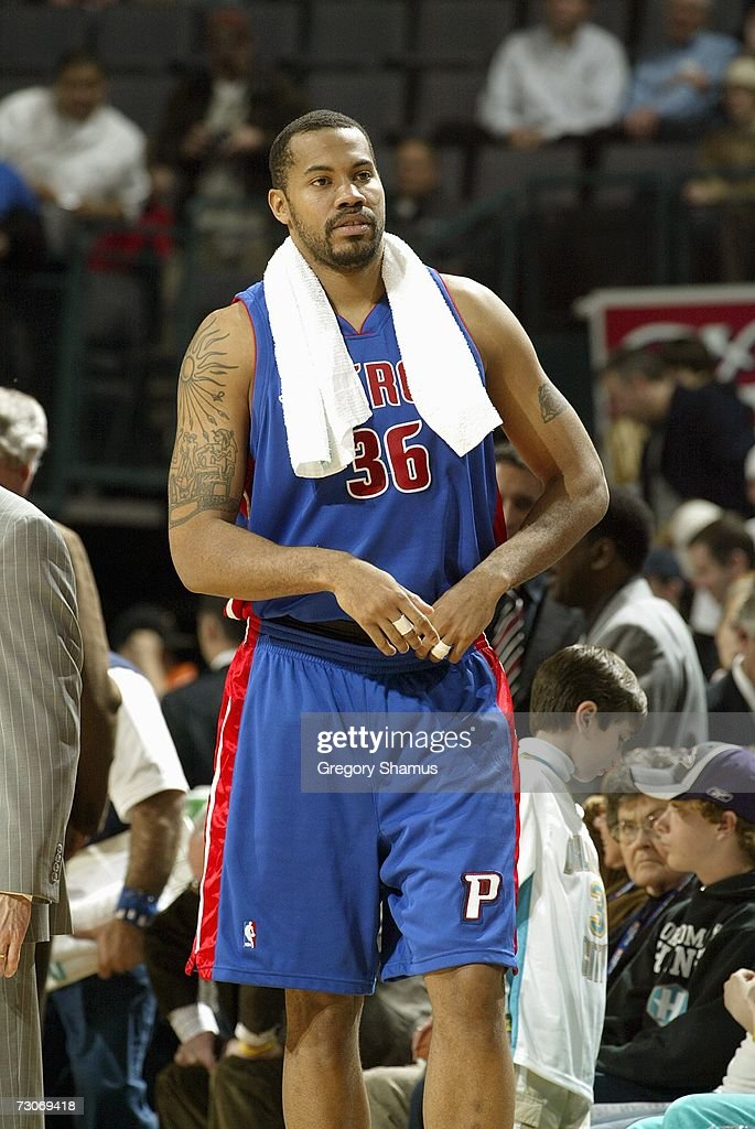 Rasheed Wallace #36 of the Detroit Pistons walks on the sideline during the game against the New Orleans/Oklahoma City Hornets on January 4, 2007 at the Ford Center in Oklahoma City, Oklahoma.