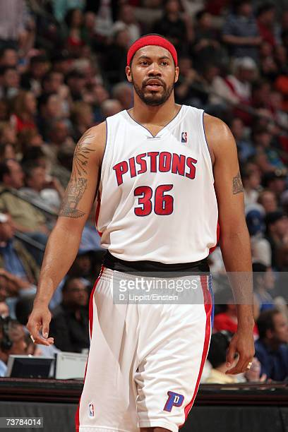 Rasheed Wallace of the Detroit Pistons walks upcourt during the game against the Denver Nuggets at The Palace of Auburn Hills on March 26 2007 in...