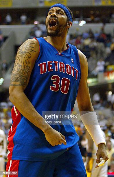 Rasheed Wallace of the Detroit Pistons yells after defeating the Indiana Pacers 7267 in Game two of the Eastern Conference Finals during the 2004 NBA...