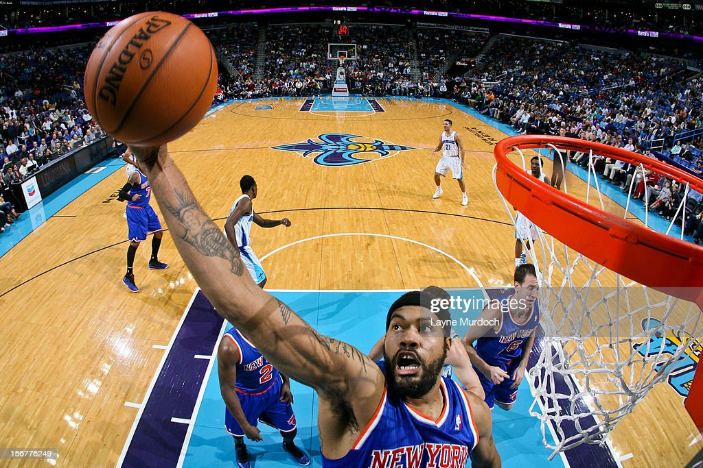 Rasheed Wallace #36 of the New York Knicks grabs a rebound against the New Orleans Hornets on November 20, 2012 at the New Orleans Arena in New Orleans, Louisiana.