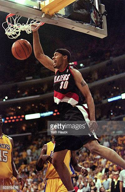 Rasheed Wallace of the Portland Trail Blazers dunks the ball during Game 7 of the Western Conference Finals against the Los Angeles Lakers at Staples...