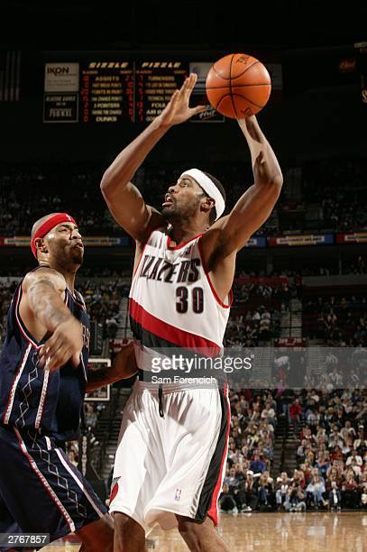 Rasheed Wallace of the Portland Trail Blazers in a game against the New Jersey Nets on November 28 2003 at the Rose Garden Arena in Portland Oregon...