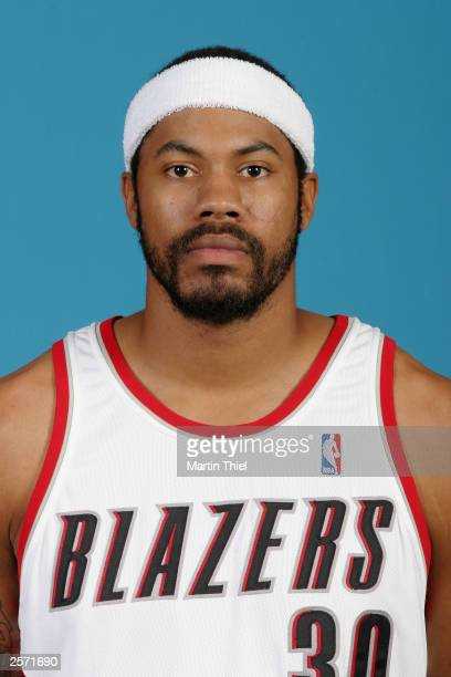 Rasheed Wallace of the Portland Trail Blazers poses for a portrait during NBA Media day at the Blazers Practice Facility on October 2 2003 in...