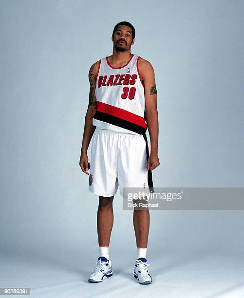 Rasheed Wallace of the Portland Trail Blazers poses for a portrait during 1999 NBA Media Day in Portland Oregon NOTE TO USER User expressly...