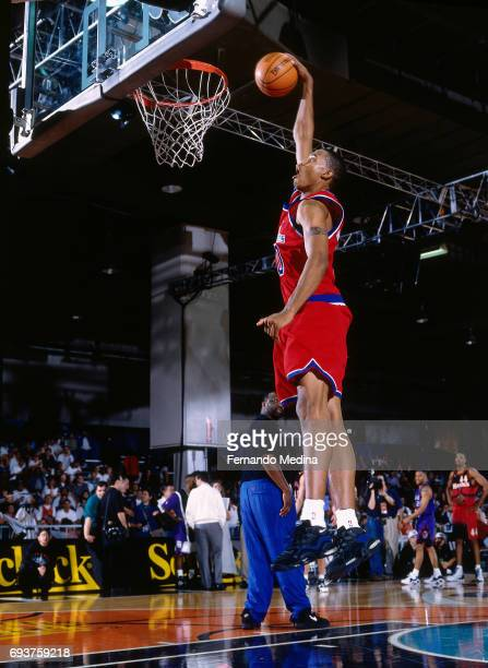 Rasheed Wallace of the Washington Bullets dunks the ball during the 1996 Rookie AllStar Practice on February 10 1996 at the Alamodome in San Antonio...