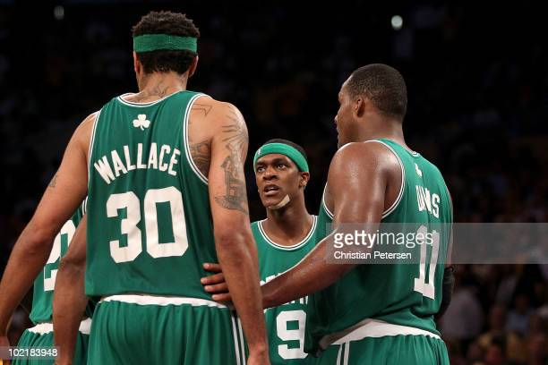 Rasheed Wallace Rajon Rondo and Glen Davis of the Boston Celtics huddle together during the first half against the Los Angeles Lakers in Game Seven...
