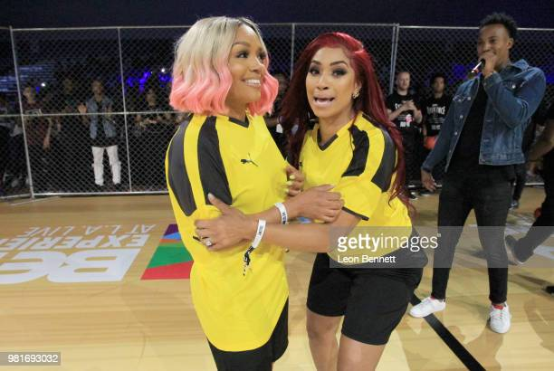 Rasheeda and Karlie Redd attend the Celebrity Dodgeball Game at 2018 BET Experience Fan Fest at Los Angeles Convention Center on June 22 2018 in Los...