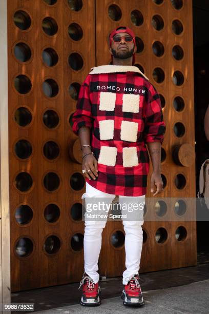 Rasheen Wilkins is seen on the street during Men's New York Fashion Week wearing Romeo Hunte on July 11 2018 in New York City