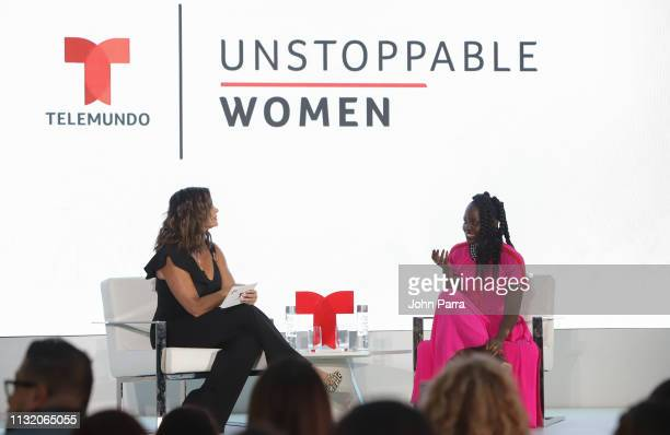 Rashel D'az and Lupita Nyong'o attend Mujeres Imparables Fireside Chat at Telemundo Center in support of Us on March 21 2019 in Miami Florida
