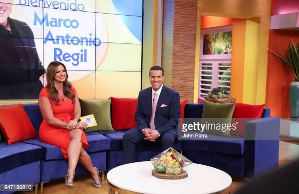 Rashel Diaz and Marco Antonio Regil are seen at Telemundo's Un Nuevo Dia on April 16 2018 in Miami Florida