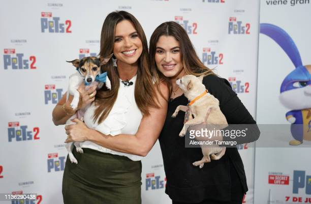 Rashel Diaz and pet trainer Gineth Villalobos are seen as Telemundo celebrates National Pet Day in support of the film The Secret Life Of Pets 2...