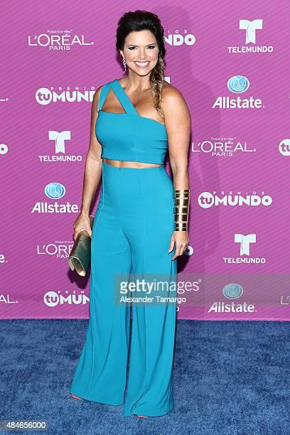 Rashel Diaz arrives at Telemundo's Premios Tu Mundo Awards at American Airlines Arena on August 20 2015 in Miami Florida