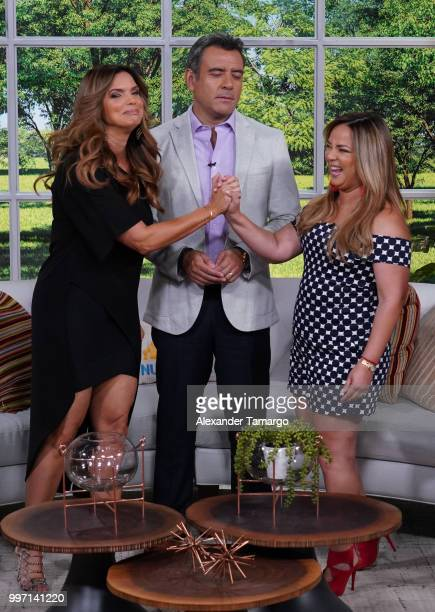 Rashel Diaz Hector Sandarti and Adamari Lopez are seen on the set of 'Un Nuevo Dia' at Telemundo Center to promote the show 'La Voz' on July 12 2018...