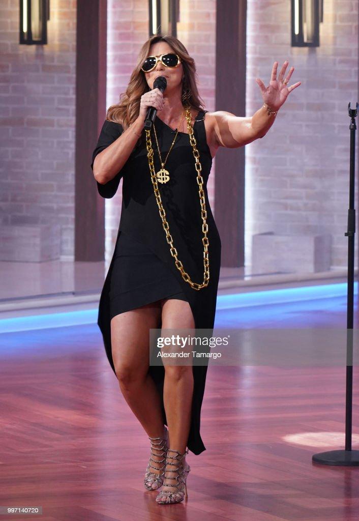 Rashel Diaz is seen on the set of 'Un Nuevo Dia' at Telemundo Center to promote the show 'La Voz' on July 12, 2018 in Miami, Florida.