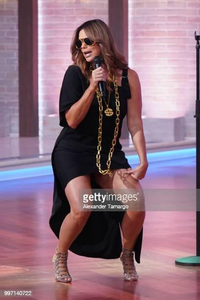 Rashel Diaz is seen on the set of Un Nuevo Dia at Telemundo Center to promote the show La Voz on July 12 2018 in Miami Florida