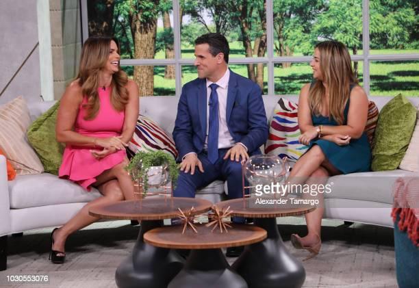 Rashel Diaz Marco Antonio Regil and Adamari Lopez are seen on the set of Telemundo's Un Nuevo Dia morning show on September 10 2018 in Miami Florida