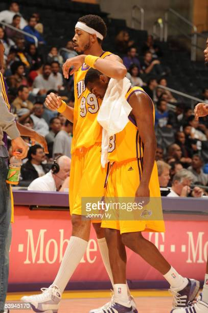 Rashid Byrd and Brandon Heath of the Los Angeles DFenders walk to the bench during a timeout of their game against the Tulsa 66ers at Staples Center...