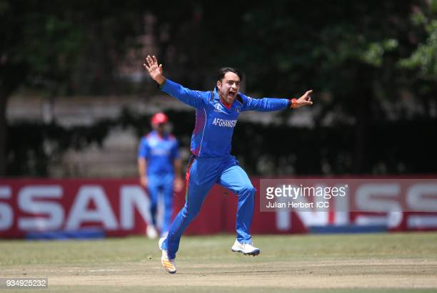 Rashid Khan Arman of Afghanistan celebrates the wicket of Chirag Suri of The UAE during The Cricket World Cup Qualifier between The UAE and...