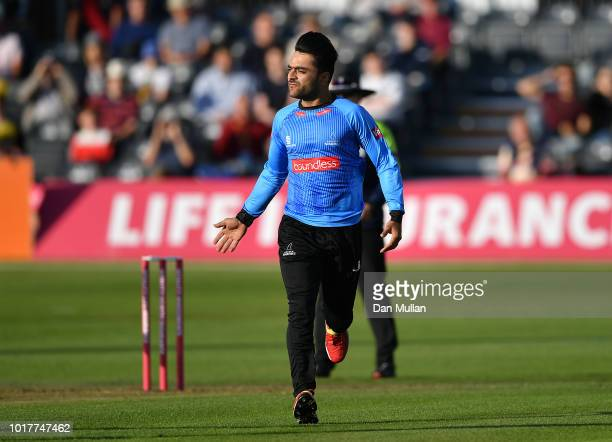 Rashid Khan Arman of Sussex celebrates taking the wicket of Miles Hammond of Gloucestershire during the Vitality Blast match between Gloucestershire...