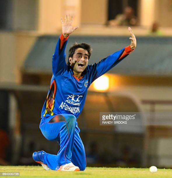 Rashid Khan of Afghanistan appeals for another wicket during the 1st ODI match between West Indies and Afghanistan at Darren Sammy National Cricket...