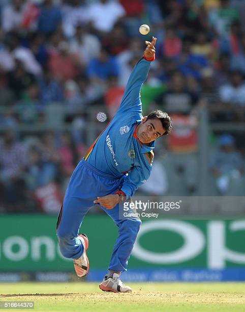 Rashid Khan of Afghanistan bowls during the ICC World Twenty20 India 2016 Super 10s Group 1 match between South Africa and Afghanistan at Wankhede...