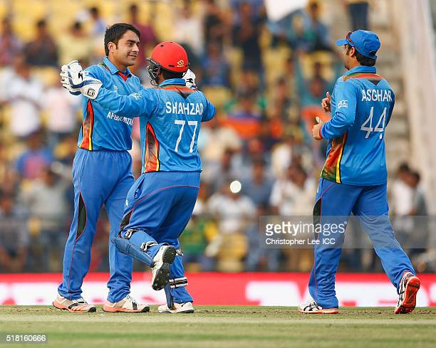 Rashid Khan of Afghanistan celebrates taking the wicket of Marlon Samuels of the West Indies during the ICC World Twenty20 India 2016 Group 1 match...