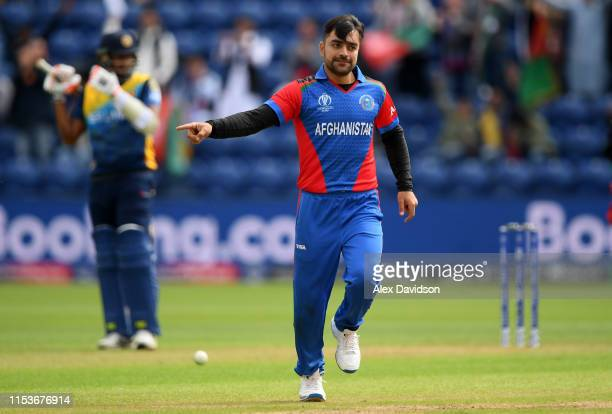 Rashid Khan of Afghanistan celebrates taking the wicket of Nuwan Pradeep of Sri Lanka during the Group Stage match of the ICC Cricket World Cup 2019...