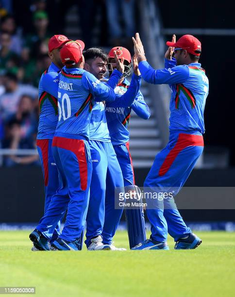 Rashid Khan of Afghanistan celebrates the dismissal of Haris Sohail of Pakistan during the Group Stage match of the ICC Cricket World Cup 2019...