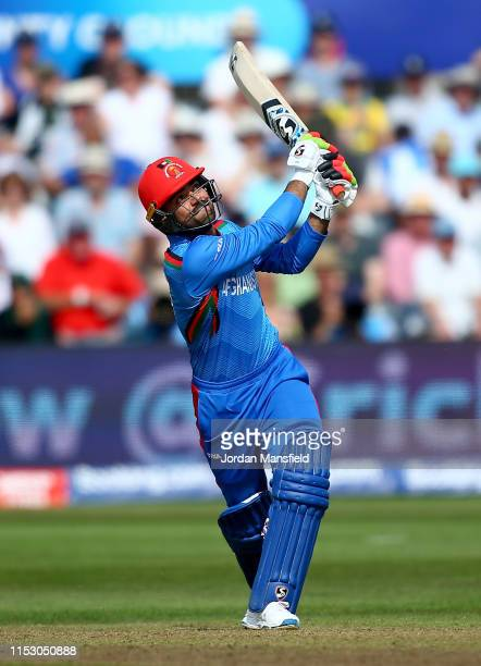Rashid Khan of Afghanistan hits out during the Group Stage match of the ICC Cricket World Cup 2019 between Afghanistan and Australia at Bristol...