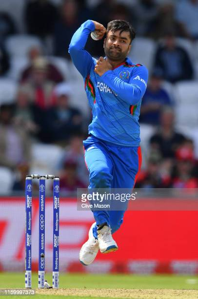 Rashid Khan of Afghanistan in action during the Group Stage match of the ICC Cricket World Cup 2019 between Afghanistan and West Indies at Headingley...