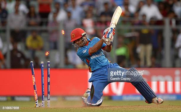 Rashid Khan of Afghanistan is bowled by Chris Morris of South Africa during the ICC World Twenty20 India 2016 Super 10s Group 1 match between South...