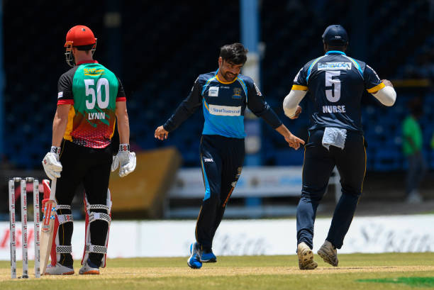 Rashid Khan of Barbados Tridents celebrates the dismissal of Chris Lynn of St Kitts Nevis Patriots during the Hero Caribbean Premier League match 11...