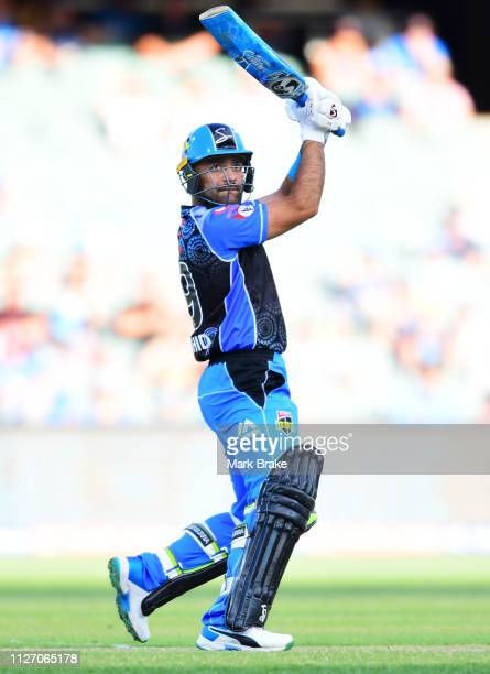 Rashid Khan of the Adelaide Strikers bats during the Big Bash League match between the Adelaide Strikers and the Brisbane Heat at Adelaide Oval on...