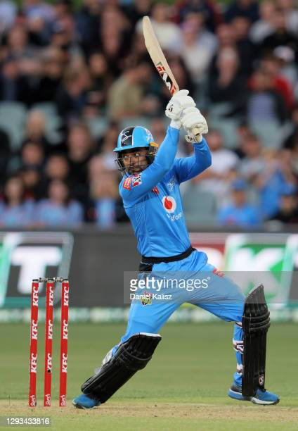 Rashid Khan of the Adelaide Strikers bats during the Big Bash League match between the Perth Scorchers and the Adelaide Strikers at Adelaide Oval, on...
