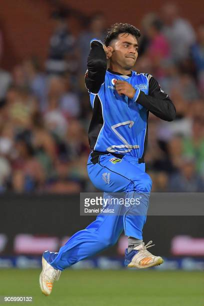 Rashid Khan of the Adelaide Strikers bowls during the Big Bash League match between the Adelaide Strikers and the Hobart Hurricanes at Adelaide Oval...