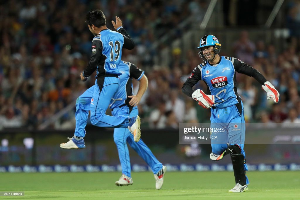 Rashid Khan of the Adelaide Strikers celebrates a wicket during the Big Bash League match between the Adelaide Strikers and the Sydney Thunder at Adelaide Oval on December 22, 2017 in Adelaide, Australia.