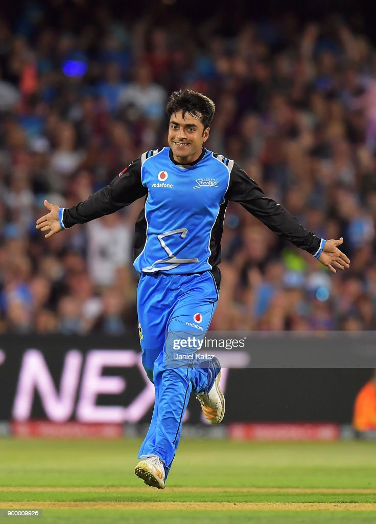 Rashid Khan of the Adelaide Strikers celebrates after taking a wicket during the Big Bash League match between the Adelaide Strikers and the Brisbane Heat at Adelaide Oval on December 31, 2017 in Adelaide, Australia.