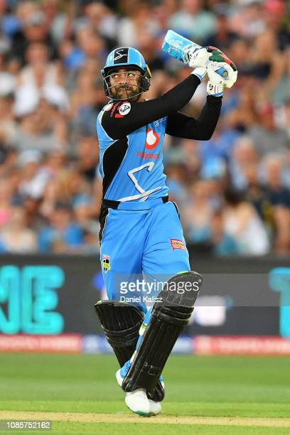 Rashid Khan of the Strikers bats during the Big Bash League match between the Adelaide Strikers and the Hobart Hurricanes at Adelaide Oval on January...