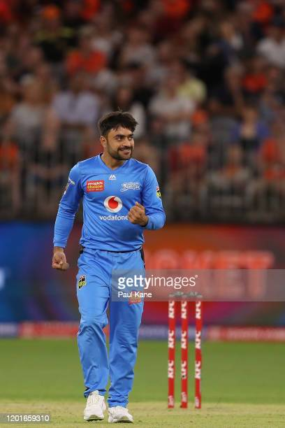 Rashid Khan of the Strikers celebrates the wicket of Cameron Bancroft of the Scorchers during the Big Bash League match between the Perth Scorchers...